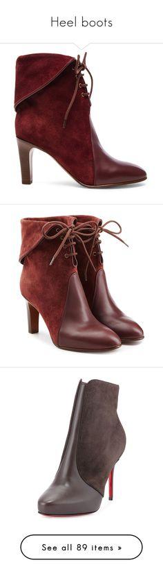"""Heel boots"" by lorika-borika on Polyvore featuring shoes, boots, ankle booties, booties, ankle boots, suede boots, suede booties, lace up high heel boots, suede lace-up boots и high heel booties"