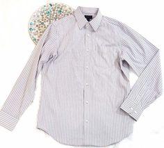 Banana Republic Mens Shirt Size M 15-15.5 Slim Fit Gray White Striped Button Up #BananaRepublic #ButtonFront