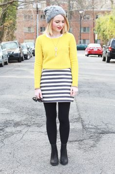 Poor Little It Girl - Madewell Yellow Sweater, Piperlime Navy and White Striped Skirt, Aeropostale Gray Beanie and Sole Society Black Bootie...
