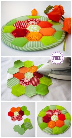 DIY Autumn Hot Pad Sew Free Pattern & Tutorial - Diy and crafts interests Sewing Patterns Free, Free Sewing, Quilt Patterns, Free Pattern, Apron Patterns, Dress Patterns, Patchwork Hexagonal, Hexagon Quilt, Diy Craft Projects