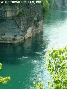 Summersville lake WV cliffs....yes, my son and husband jump off of these.  yikes!