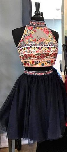 short prom dress homecoming dress, 2018 prom dress hoco dress, two piece navy blue embroidery prom dress homecoming dress
