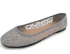 Blueberry Women's Ballet Shoe Floral Lace Crochet Comfort...