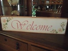 "HP Shabby Roses ""WELCOME"" Cottage Chic Primitive Wood Sign #ShabbyChic #RusticPrimitive"