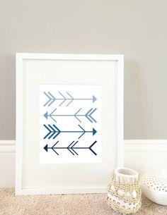 Ombre Arrow Print // Arrow Art Print // Arrow by MinneMommaDesigns