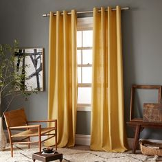 Yellow curtains, gray walls - Linen Cotton Grommet Window Panel - Desert Marigold love love love this look! Curtains For Grey Walls, Curtains Living, Colorful Curtains, Gold Curtains, Bedroom Curtains, Kitchen Curtains, My Living Room, Living Room Decor, Living Spaces