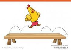 Bewegingskaarten kip voor kleuters 14, Met pittenzak op je voet op de bank springen , kleuteridee.nl , thema Lente, Movementcards for presch...