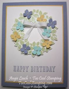 Wondrous Wreath isn't just for Christmas!  itty bitty accents, flowers, wreath, stamping, stampin up, cards, birthday, peace, love, cupcakes  Daily projects at www.TooCoolStamping.com