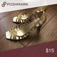 Bandolino Gold cutout heels. Excellent condition. Bandolino Shoes Heels
