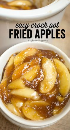 These Easy Crock Pot Fried Apples are a perfect, effortless Thanksgiving side dish or an everyday treat! You'll love how easy they are to whip up! Crockpot Fried Apples, Crockpot Side Dishes, Cooked Apples, Slow Cooker Apples, Best Thanksgiving Recipes, Thanksgiving Side Dishes, Christmas Recipes, Thanksgiving Desserts, Holiday Recipes