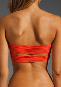 MIKOH SWIMWEAR St. Thomas String Bandeau in Coral - Cant wait to get my hands on this bikini!