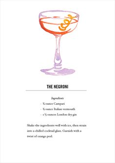 Negroni Cocktail Recipe Card. Postcard back. Buy all 12 here: https://www.etsy.com/listing/118013624/classic-cocktail-recipe-cards-12
