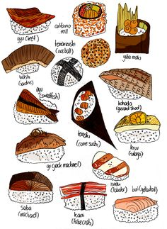 EvR try 2 make sushi @ home? > Types of Sushi 1 Japanese Food Art, Japanese Culture, Learning Japanese, Web Design, Food Design, Types Of Sushi, Snacking, Sushi Love, Sushi Art