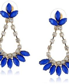 Blue Cabochon and Crystal Fan Gold Tone Earrings - curated collection toms fitness Coupons For Boyfriend, Discount Toms, Fan, Crystals, Earrings, Gold, Amazon, Collection, Jewelry
