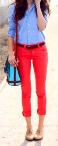 Coral pants jcrew shirt