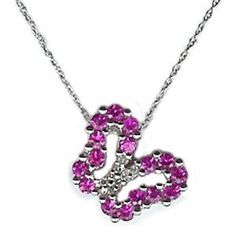 1 1/10 Ct Diamond Pink Sapphire 10k White Gold Butterfly Pendant Necklace Chain…