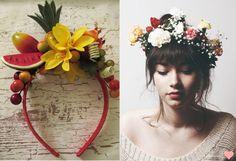 tiaras de frutas e flores