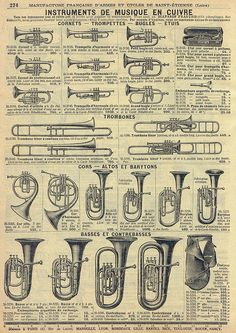 Brass instruments advert, catalogue page Brass Musical Instruments, Brass Instrument, Trumpet Instrument, Partituras Trombone, Sousaphone, Mundo Musical, Trumpet Music, Jazz Poster, Music Machine