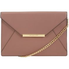 MICHAEL Michael Kors Lana Envelope Leather Clutch Bag ($225) ❤ liked on Polyvore featuring bags, handbags, clutches, bags and purses, pink, pink purse, handbags & purses, pink leather handbag, leather envelope clutch and leather purse