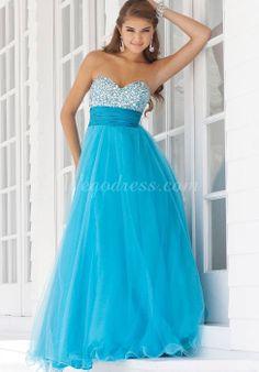 sweetheart tulle crystals long empire waist prom dress - Wegodress.com