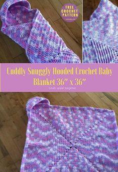 #CuddlySnuggly #crochet #Crochet Baby Blanket - Free Pattern Blanket → Throw. Measures approx. 36″ x 36″. Writtenin US Terms. Level: upper beginner.yarn: 3 balls of Bernat Baby Blanket 300 gHook: 8 mm or L.