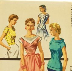 Vintage 50s Blouse Pattern McCalls 3406 Size 11 Bust 29 by Revvie1, $8.00