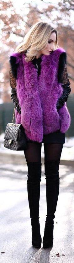 Radiant Orchid   womens fur vest jacket   lovely