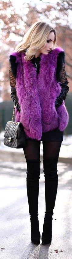 This purple faux fur is a bold Why Not! fashion statement - plus, it looks really warm! // Why Not Girl!