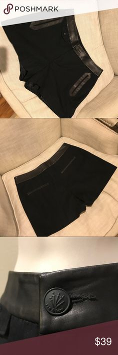 Rag & Bone Black Leather Trim Shorts, size 6 Just in time for summer, fancy pair of Lamb Skin Leather trimmed fully lined Black Cotton Shorts, size 6.  Functional pockets front and back. rag & bone Shorts
