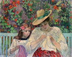 """""""The Sewing Lesson,"""" by post-Impressionist Henri Lebasque"""