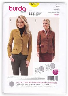 Cute Jacket for Women Sewing Pattern Burda 6746 Miss 8-18