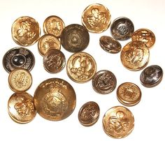 Lot of 20 Military Buttons Metal Coat of Arms scrapbooking sewing crafts steampunk by scrapitsideways, $4.80