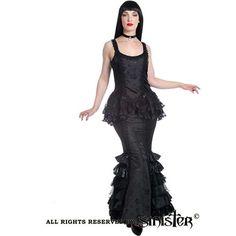 Morticia Luscious lange zeemeermin rok met kanten plooien zwart - Victoriaans Gothic