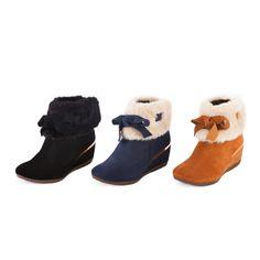 $3976.TAS 甜美女孩 反領絨毛繫帶可愛蝴蝶結楔型短靴-時尚黑 - Yahoo!奇摩購物中心(藍缺25)