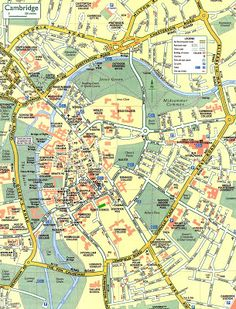Street map of central Cambridge, England. Shows University of Cambridge. Cambridge Street, Cambridge England, Treasure Hunt Map, St. Michael, England Map, Map Puzzle, Honeymoon Night, Area Map, United Kingdom
