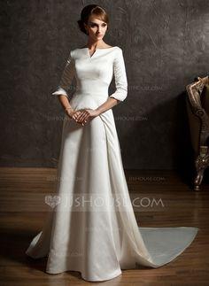 A-Line/Princess Off-the-Shoulder Watteau Train Satin Wedding Dress (002004779) - JJsHouse