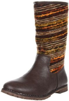 Volatile Koop Boot (Big Kid/Toddler/Little Kid) Volatile. $32.99. Manmade. She'll be snug and cozy in this fun sweater boot. Rubber lug outsole. Lug-sole sole. Side zipper for easy on/off. Whole sizes only, half sizes order next size up. Synthetic foot with knit fabric shaft