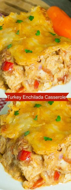 Turkey Enchilada Casserole is great for using leftover turkey. Quick and easy to prepare with cheesy layers the kids will love.