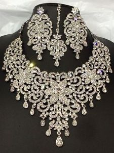 new bollywood indian costume jewellery set crystal silver party bridal wear
