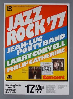 Jazz Rock 77 Larry Coryell RARE Original Germany 1977 Jazz Concert Poster | eBay