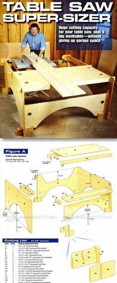 Knock-Down Outfeed Table Plans - Table Saw Tips, Jigs and Fixtures - Woodwork, Woodworking, Woodworking Plans, Woodworking Projects Woodworking Essentials, Best Woodworking Tools, Woodworking Projects That Sell, Woodworking Workshop, Diy Wood Projects, Woodworking Workbench, Workshop Storage, Homemade Tools, Wood Tools