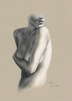 ORIGINAL DRAWING - Female nude 20 by Milena Gawlik, pencils on grey paper, artistic drawing of  naked woman