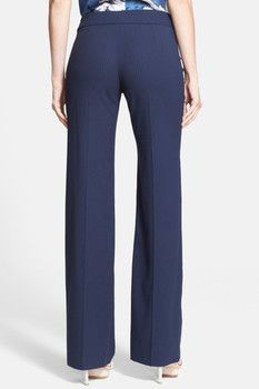 Armani Collezioni Wide Leg Pinstripe Cady Trousers