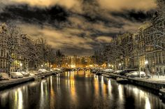Amsterdam.  Snow.  Night.  Beautiful.