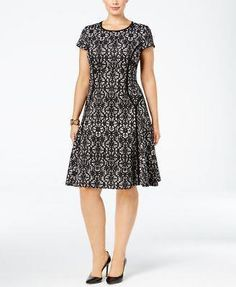 dc80932f4c0 Awesome Alfani Women s Plus Lace Print Fit  amp  Flare Dress NWT Size 18W  MSRP  109