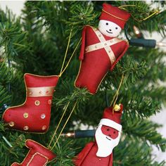 Handmade silk toy box themed Christmas tree decorations from Cambodia by Fairwind.