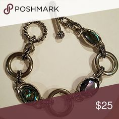 ON HOLD ia Sophia  Bracelet and Necklace/Slide Abalone and Cut Purple Crystal Surrounded by Rhodium Plating, this also includes white and blue crystal necklace and mother of pearl slide (black/white) Lia Sophia Jewelry Bracelets