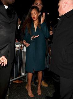 Rihanna wearing Manolo Blahnik Chaos Sandal in Tan.