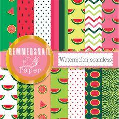 Watermelon digital paper, seamless watermelon backgrounds in 12 patterns