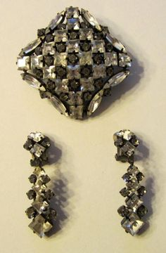Square Rhinestone Brooch and Matching Earring Set Etsy Vintage, Vintage Antiques, Marquis, Clip On Earrings, Earring Set, Rhinestones, 1950s, Diamond Earrings, Germany